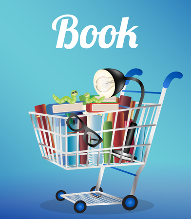 reading lamp: books reading lamp reading glasses and worm book on a shopping cart Illustration