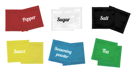 sachets: pepper sugar salt suace tea and seasoning powder sachets packaging Illustration