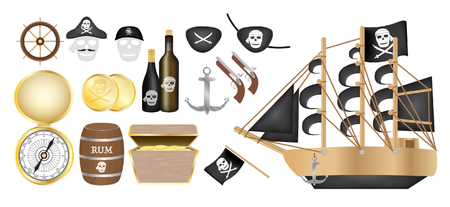 coin box: pirate ship with pirate compass gold coin rum barrel treasure box flag gun eye patch