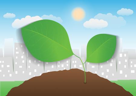 city background: leaf with city background Illustration