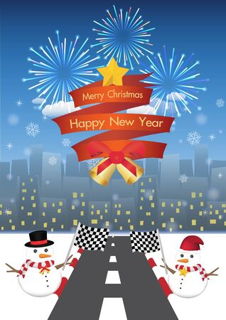 ribbin: merry christmas and happy new year on a red ribbin and Snowman with road to night city background Illustration
