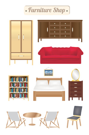 wood chair: furniture shop wood board with sofa bookcase desk chair wardrobe and bed
