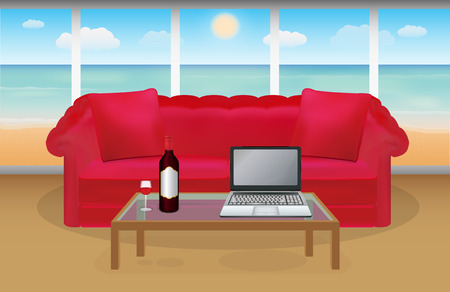 holliday: wine and laptop in front of red sofa in a room with beach background Illustration