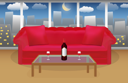 night table: wine on a table in front of red sofa with night city background Illustration