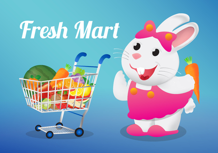 potato salad: fruits on a shopping cart with white rabbit holding a carrot