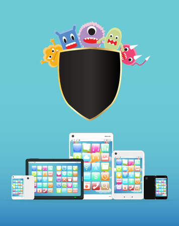 computer virus: smartphone and tablet protected virus Illustration