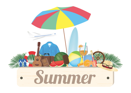 umbella: summer wood board with ukulala Ring rescue sandal shirt travel bag water melon surfboard ball juice steering boat hat airplane and umbella