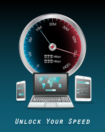 laptop smartphone and tablet with internet speed meter Stok Fotoğraf - 54462572
