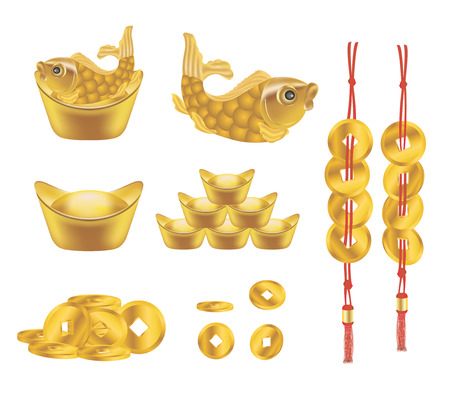 Chinese Golden ingot and Coin