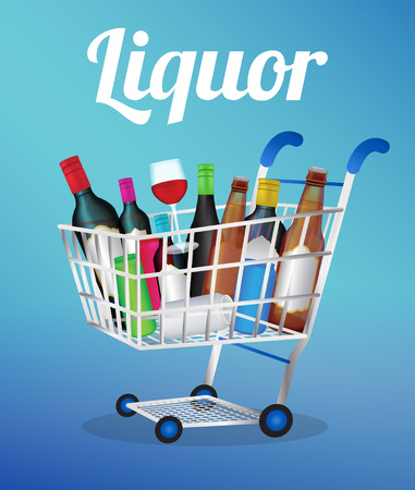 liquors: Liquors bottle and can on a shopping cart Illustration