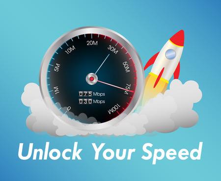 internet speed test meter with rocket