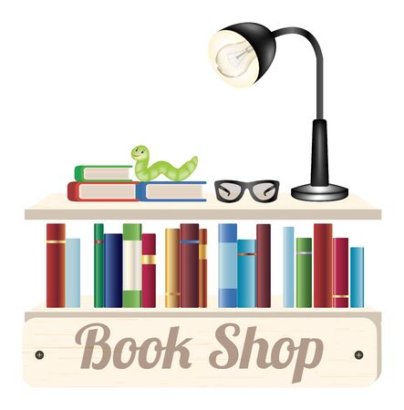 reading glasses: Book shop wood board with book reading glasses and reading lamp on a wood book shelf