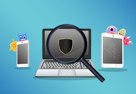 adware: laptop smartphone and tablet scaning for find a virus computer Illustration