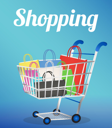 paper bags: Shopping cart with paper bags