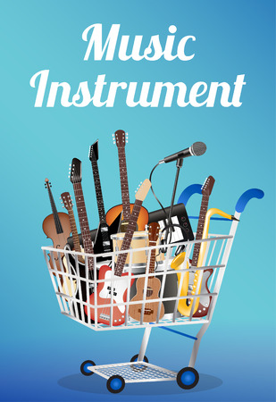 drum and bass: music instrument wood board with electric acoustic guitar bass drum snare violin ukulele saxophone keyboard microphone and headphone