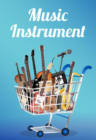 tambor: tablero de madera con el instrumento de música eléctrica acústica del tambor de la guitarra baja del violín lazo saxofón ukelele micrófono y auriculares Teclado Vectores