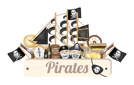 eye patch: pirate wood board with pirate ship compass gold coin rum barrel treasure box flag gun eye patch