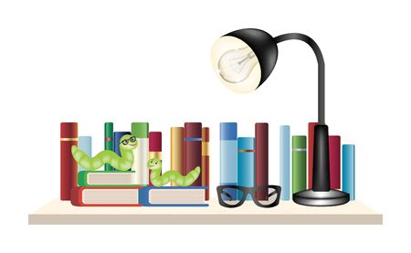 book worm: Book worm on a book shelf with books reading glasses and reading lamp