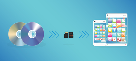 smart card: CD DVD Disk send data to Micro SD Memory card and smart phone tablet Illustration