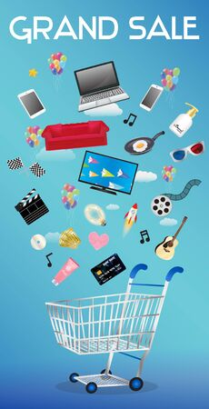 grand sale icon: General object floating over a shopping cart