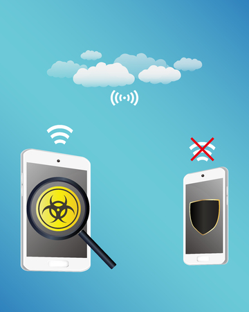 transfering: smartphone protected virus infected from tablet while transfering data with cloud technology Illustration