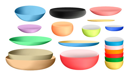 colorful ceramic bowl and dishes Vectores