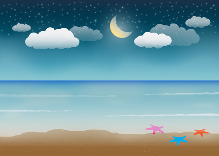 night sea beach scene Stock Vector - 54463048