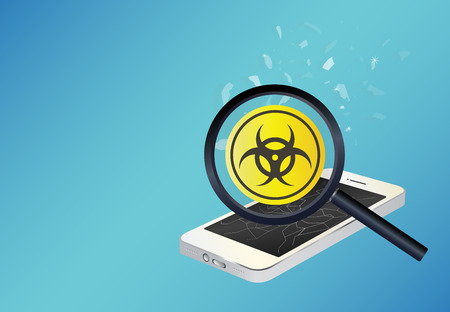threat: smartphone device infected virus Illustration