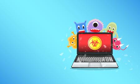 ノート パソコンを破壊するウイルスのコンピューター  イラスト・ベクター素材