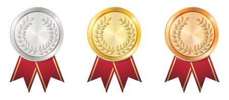 A Gold Silver Bronze badge Illustration