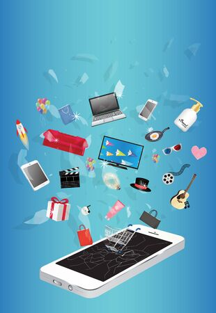 broken screen: smart device television shampoo guitar gift box cosmetic tube cmovie film hat pan paper bag shopping cart floating over broken screen smart phone device