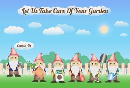 take care: Garden Gnome Service with wood fence and nature background - let us take care of your garden
