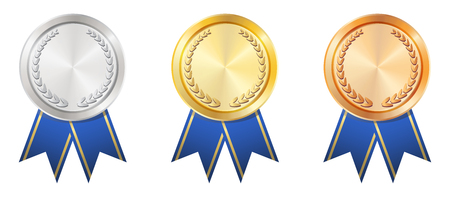 gold silver bronze: A Gold Silver Bronze badge Illustration