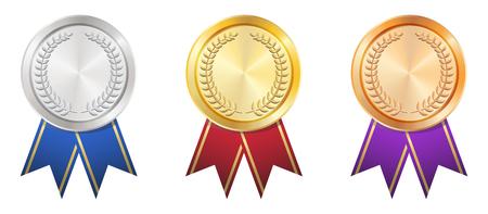 Złota Srebrna Brązowa odznaka Ilustracje wektorowe