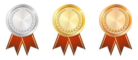 gold silver: A Gold Silver Bronze badge Illustration