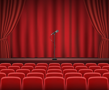 Rows of red cinema or theater seats in front of show stage with microphone Vectores