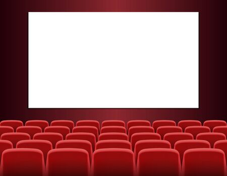 Rows of red seats in front of white blank screen