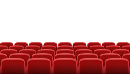 theater seats: Rows of red cinema or theater seats Illustration