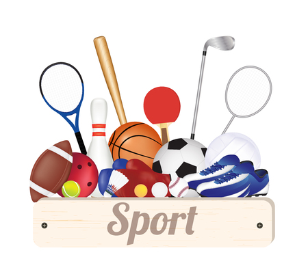 golf glove: group of sport Soccer Ball Volleyball Basketball Baseball American Football Badminton Table Tennis Golf Boxing Glove Bowling and Running Shoes Illustration