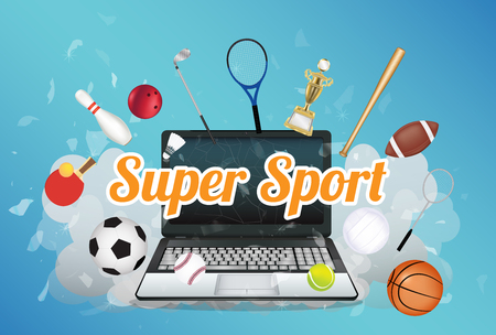 exploded: Super Sport  with sport equipment floating on exploded laptop Illustration