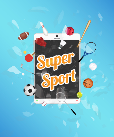 Super Sport on tablet screen with sport equipment floating on exploded tablet Vettoriali