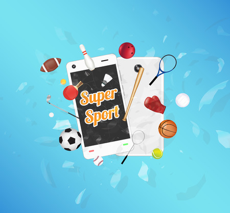 exploded: Super Sport on smartphone screen with sport equipment floating on exploded smartphone