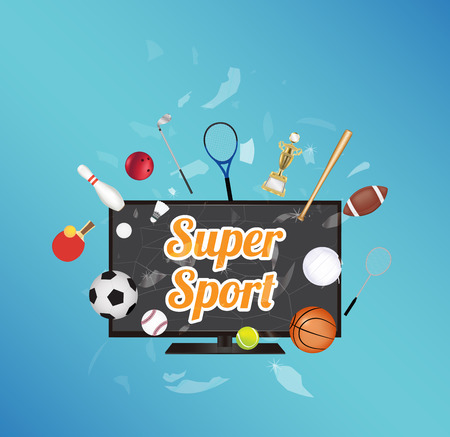 exploded: Super Sport on smart television screen with sport equipment floating on exploded smart television