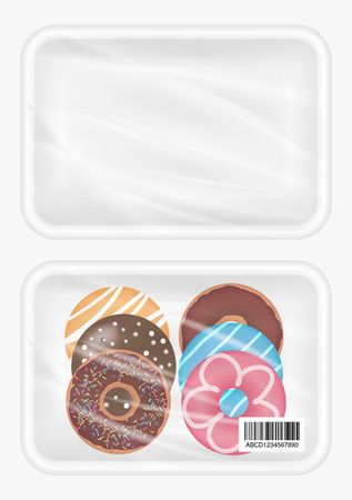 food tray: top view of White polystyrene packaging mockup with donut inside