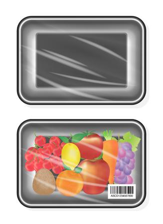 polystyrene: top view of Black polystyrene packaging mockup with fruite inside