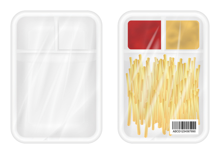 sachet: top view of White polystyrene packaging mockup with french fries and ketchup inside Illustration
