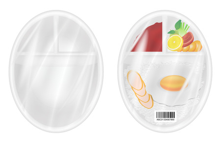 polystyrene: top view of White polystyrene packaging mockup with food inside
