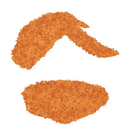 ala di pollo fritto su uno sfondo bianco