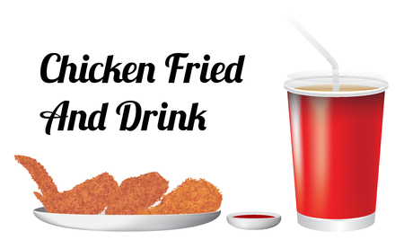 fried: chicken fried and drink Illustration