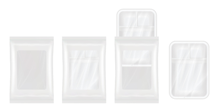 packaged: top view of White polystyrene and plastic packaging mockup